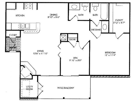 One bedroom floor plan at Lincoln Monarch Medical Center Apartments in Houston