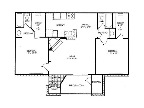 Two bedroom floor plan at Lincoln Monarch Medical Center Apartments in Houston