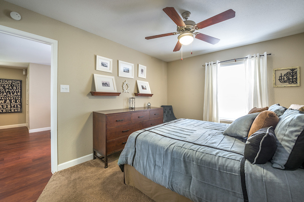 Bedroom at Lincoln Monarch Medical Center Apartments in Houston